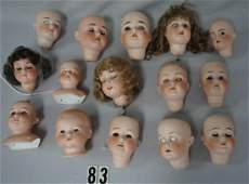 15 ANTIQUE BISQUE DOLL HEADS