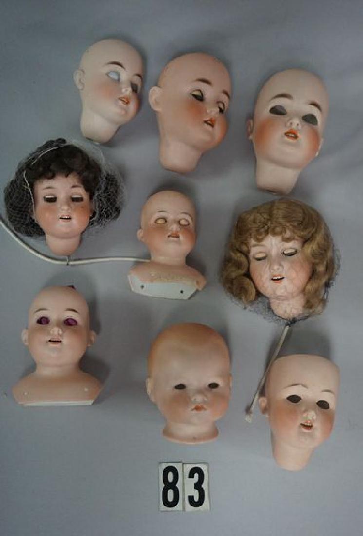 (15) ANTIQUE BISQUE DOLL HEADS - 2
