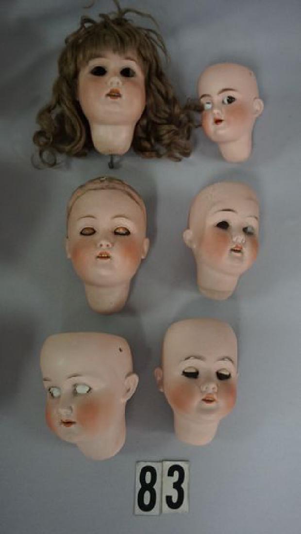 (15) ANTIQUE BISQUE DOLL HEADS - 3