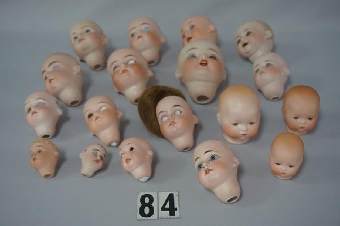 (18) ANTIQUE BISQUE DOLL HEADS