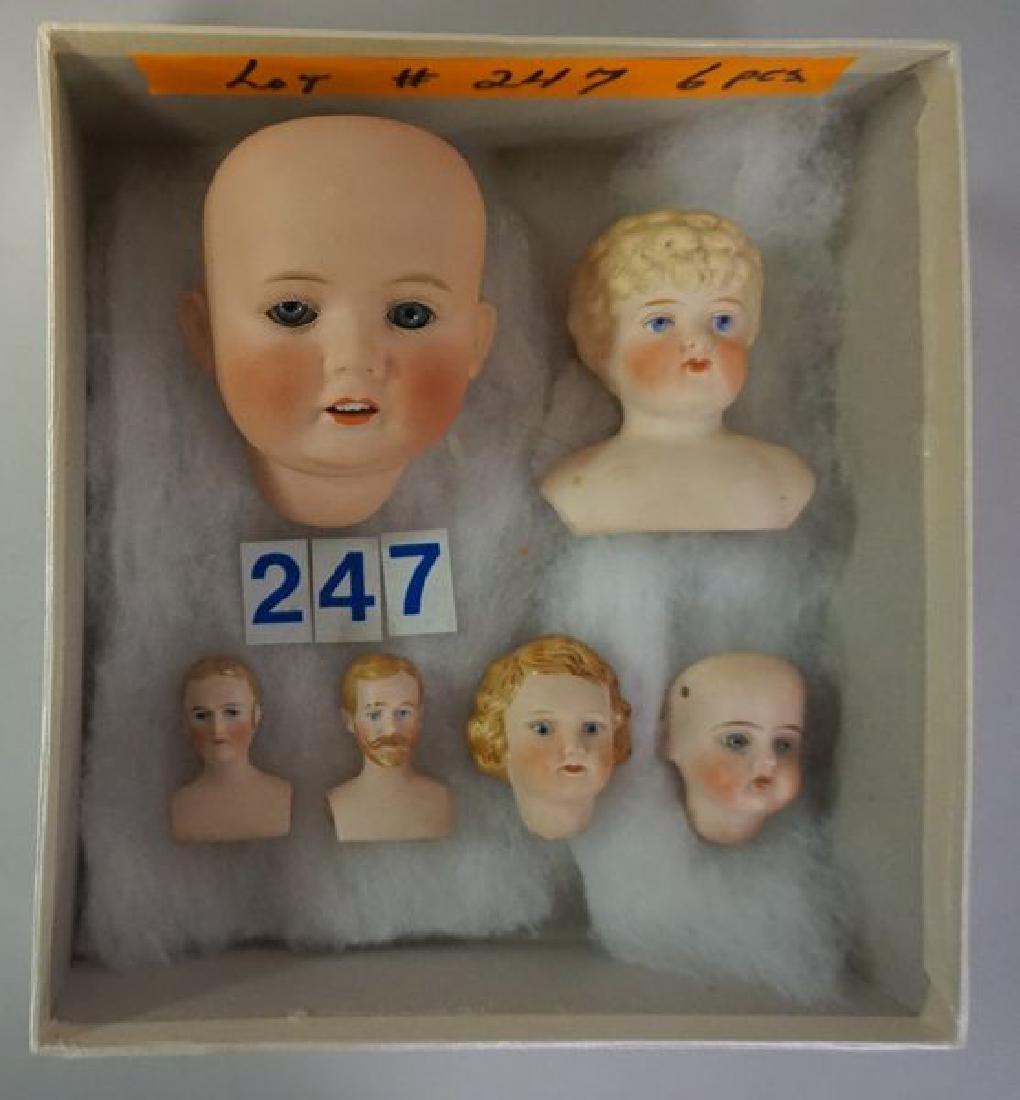 (6) ANTIQUE BISQUE HEAD DOLLS: