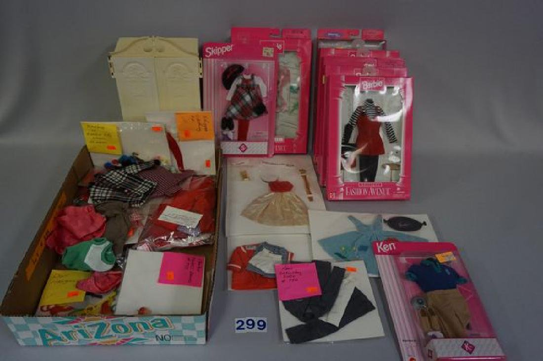 BOX WITH ASSORTED VINTAGE BARBIE OUTFITS