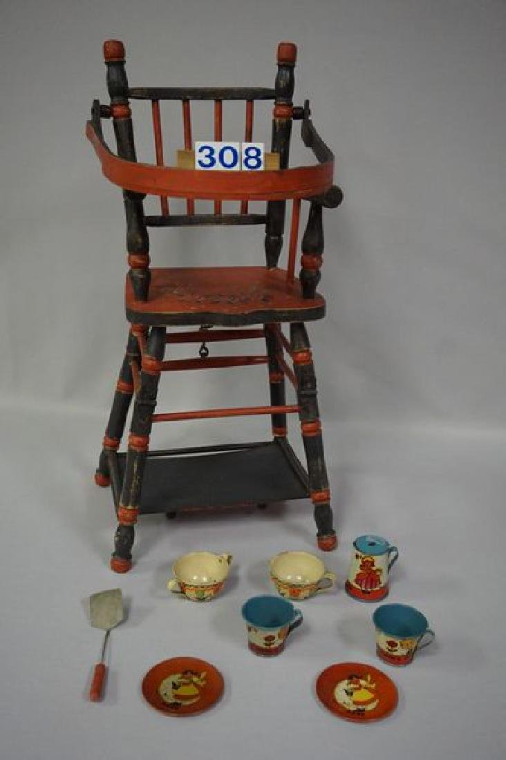 LOT: DOLLS HIGHCHAIR WITH PAINTED FLORAL