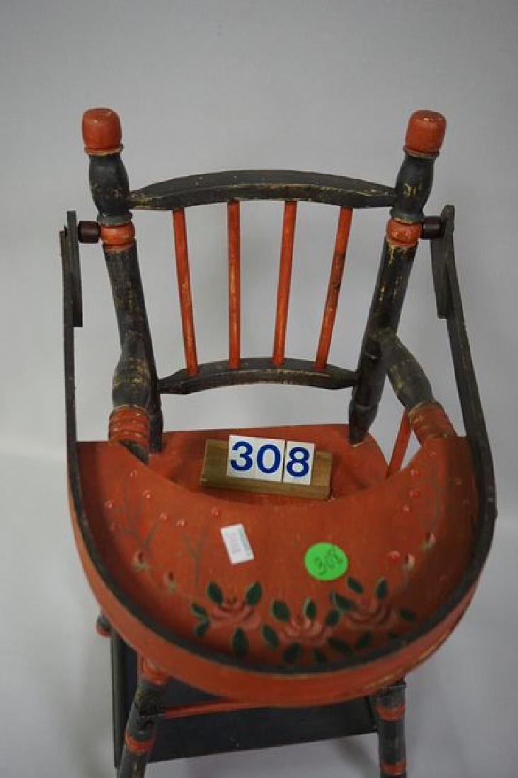 LOT: DOLLS HIGHCHAIR WITH PAINTED FLORAL - 2