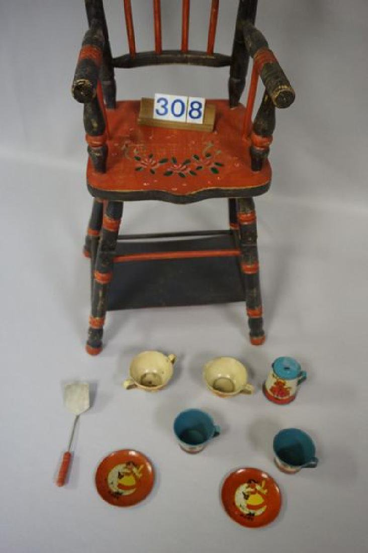 LOT: DOLLS HIGHCHAIR WITH PAINTED FLORAL - 3