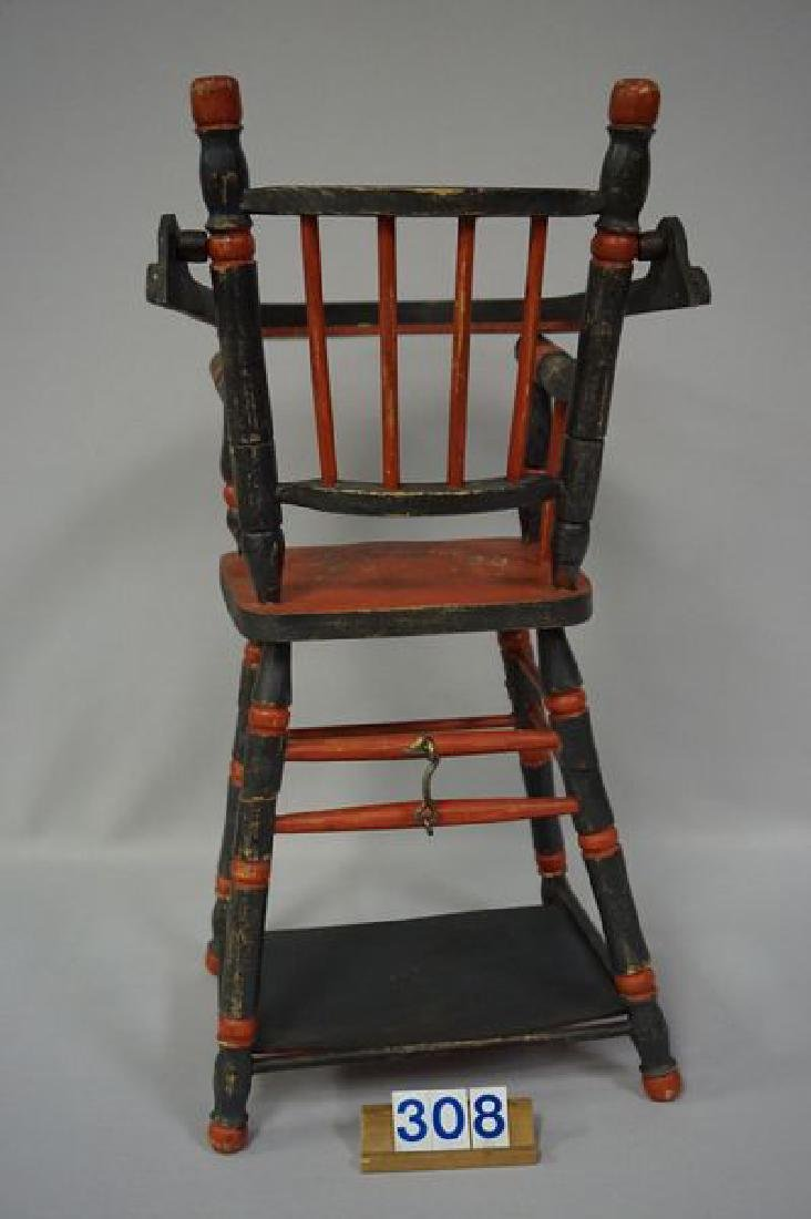 LOT: DOLLS HIGHCHAIR WITH PAINTED FLORAL - 5