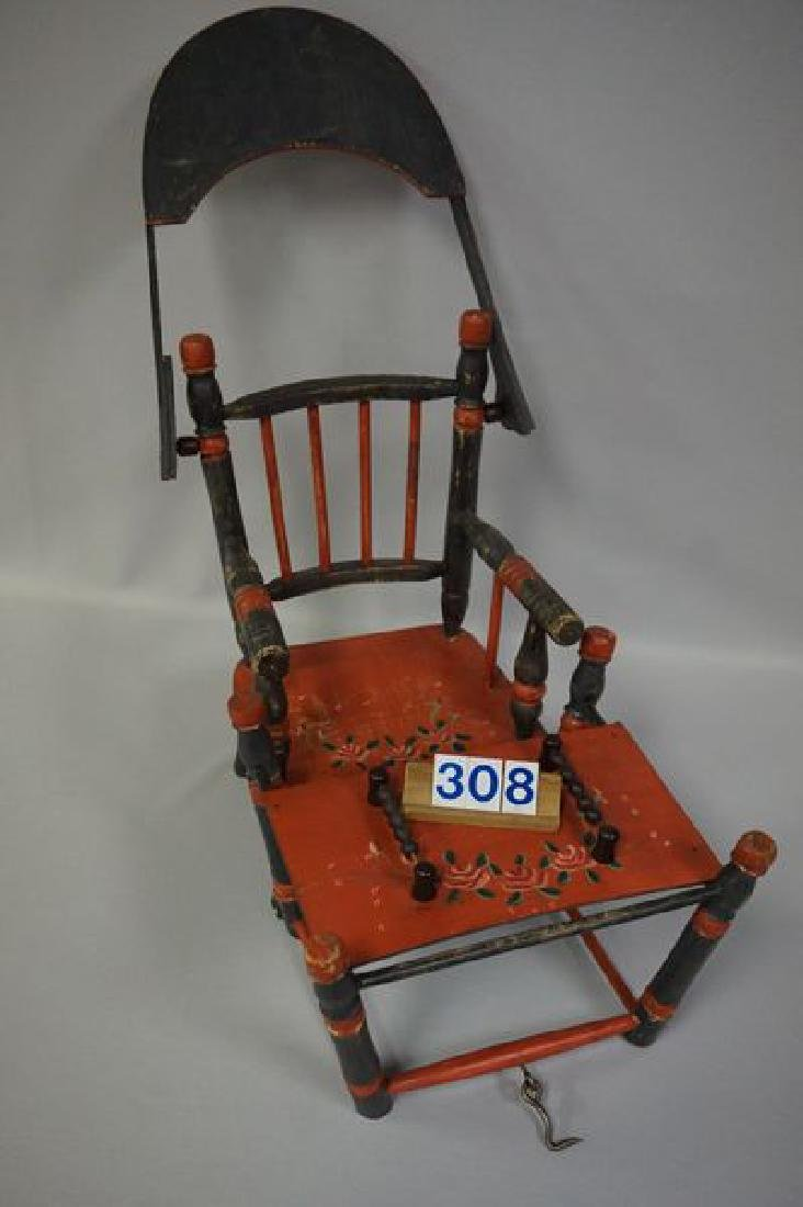 LOT: DOLLS HIGHCHAIR WITH PAINTED FLORAL - 6
