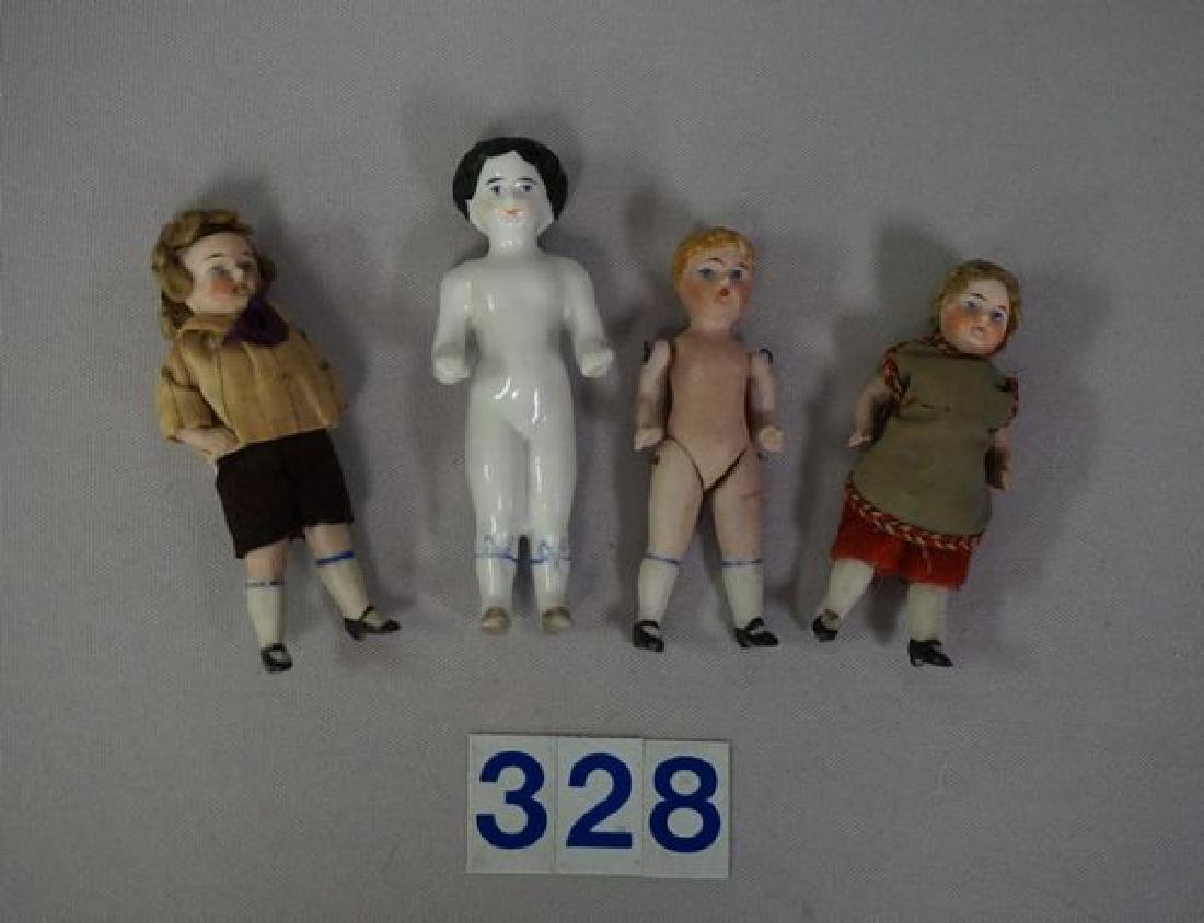 (4 PIECES) (3) 3 1/2 INCH ALL BISQUE DOLL