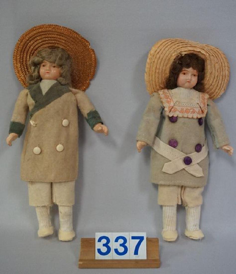(2) 8 1/2 INCH EARLY CELLULOID HEAD DOLLS
