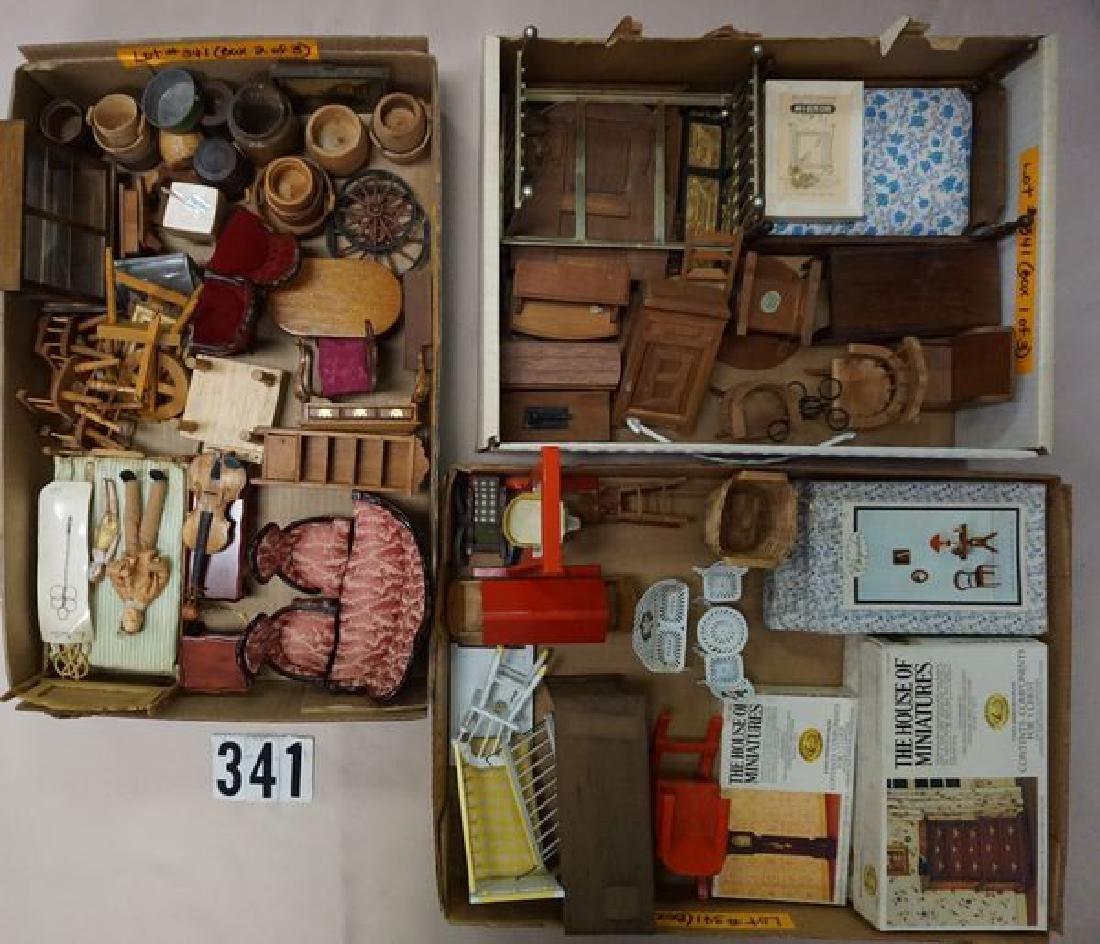 (3 BOXES) WOODEN DOLLHOUSE MINIATURES