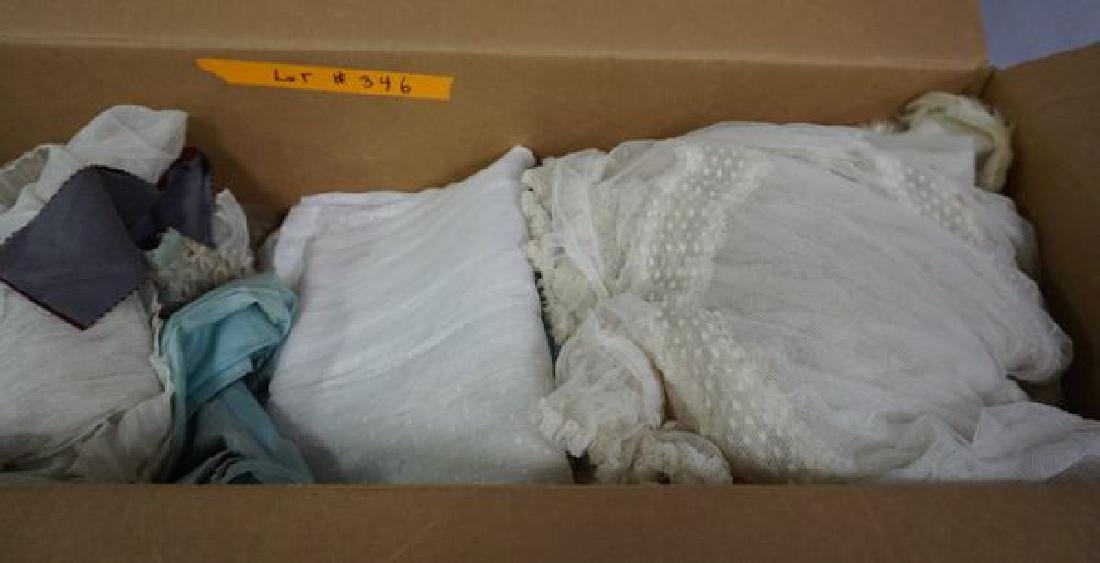 BOX OF ASSORTED ANTIQUE CLOTHING - 3