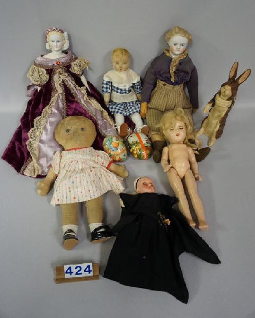 BOX LOT OF (AS-IS) DOLLS, ETC.: