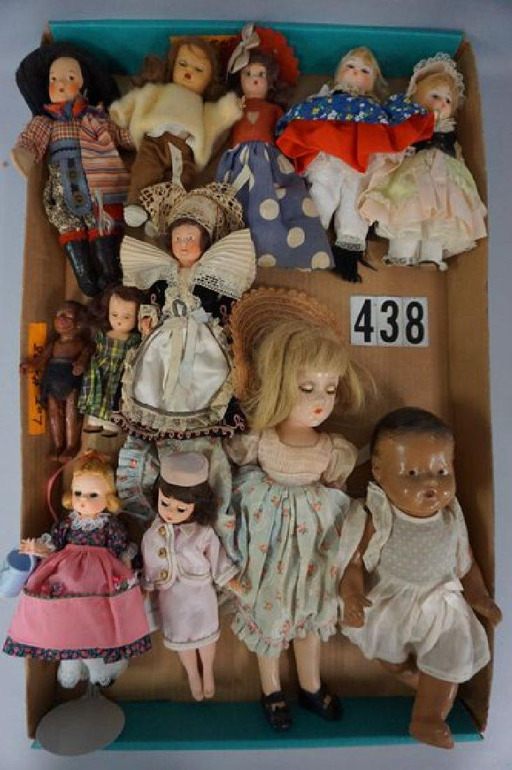 GRAB BOX WITH (12) ASSORTED DOLLS: