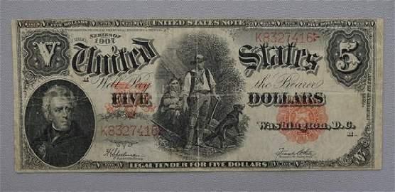 SERIES OF 1907 WOOD CHOPPER $5 NOTE