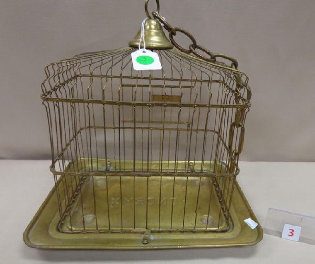 ANTIQUE BRASS BIRD CAGE - 2