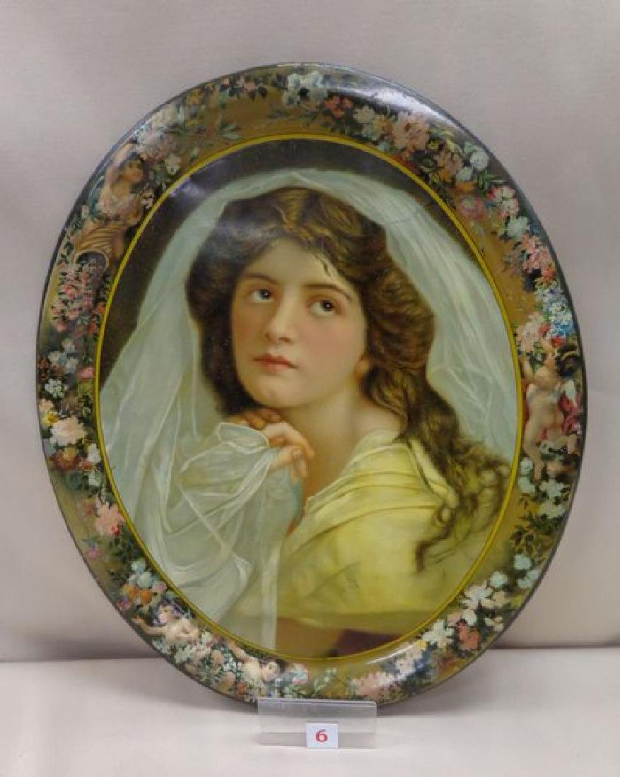 ANTIQUE ADVERTISING TRAY  OF A WOMAN