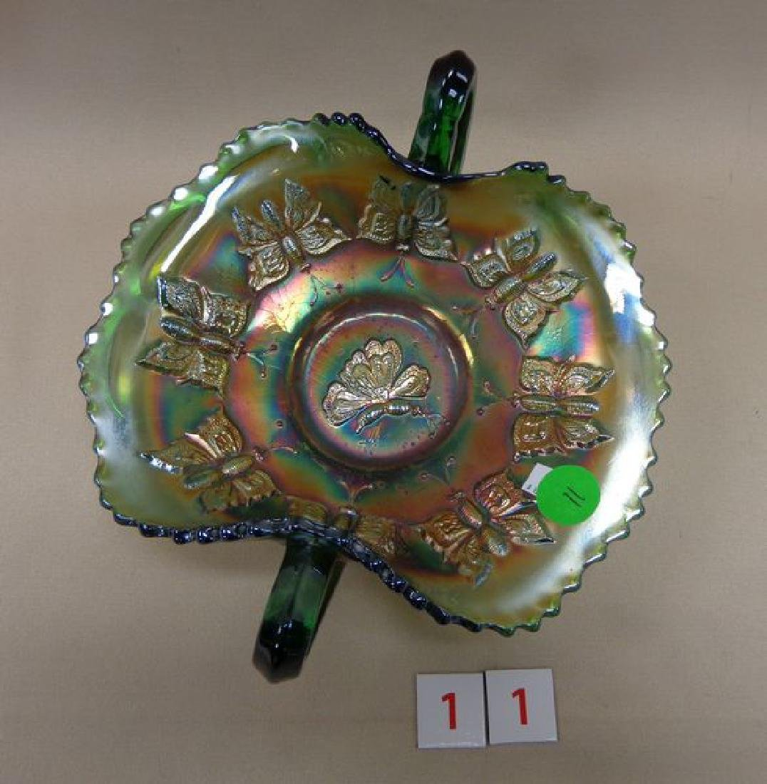 CARNIVAL GLASS: GREEN BUTTERFLY TWO-HANDLED