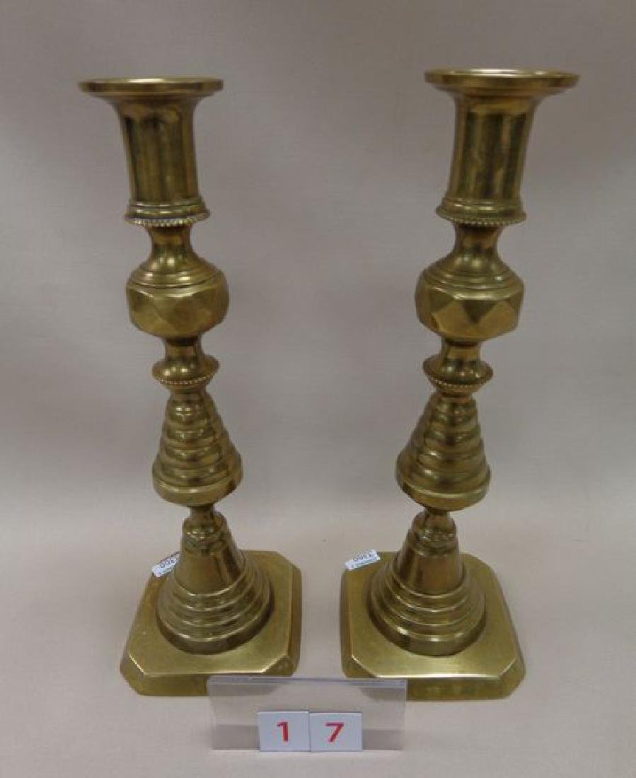 PAIR OF ANTIQUE ENGLISH BRASS PUSH-UP