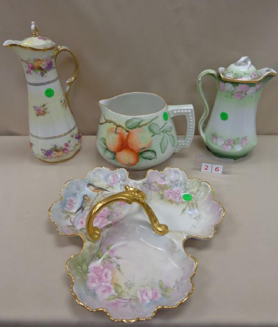 LIMOGES HAND PAINTED THREE SECTION HANDLED