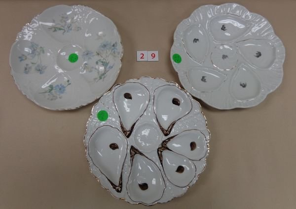 (3)  HAND PAINTED OYSTER PLATES