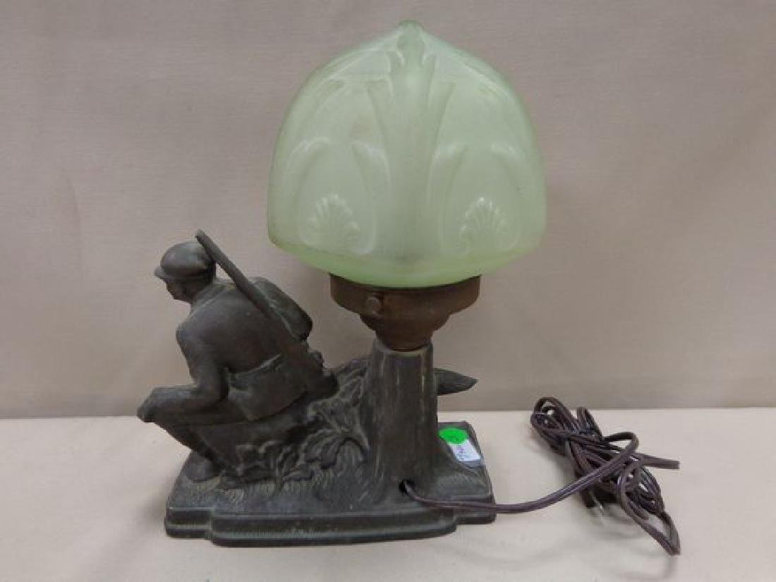 POT METAL LAMP, CIRCA 1920'S, WITH A HUNTER - 2