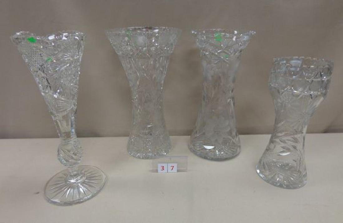 (4) ASSORTED CUT GLASS VASES: