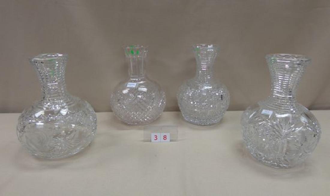 (4) ASSORTED CUT GLASS WATER BOTTLES