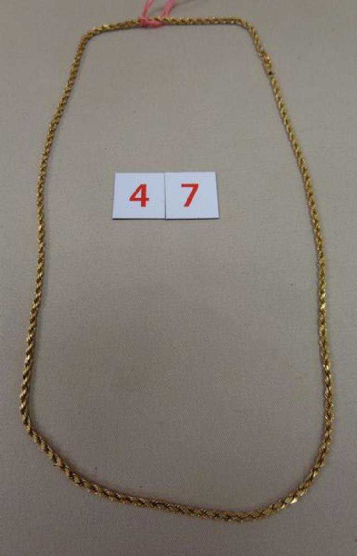 14 KT. GOLD 22 1/2 INCH TWISTED ROPE