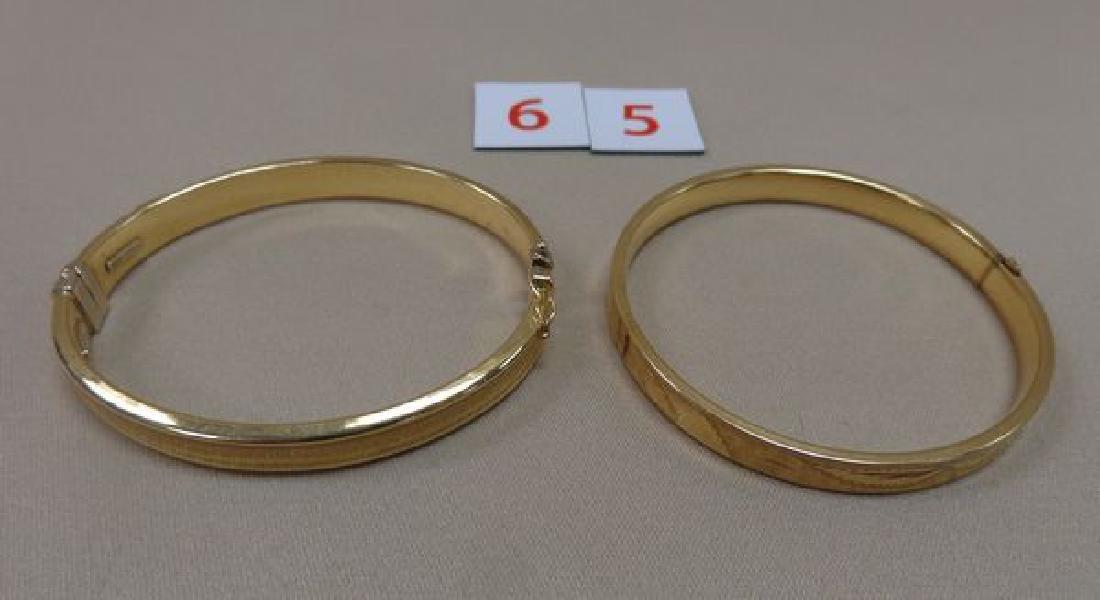(2) 14 KT. GOLD BANGLE BRACELETS