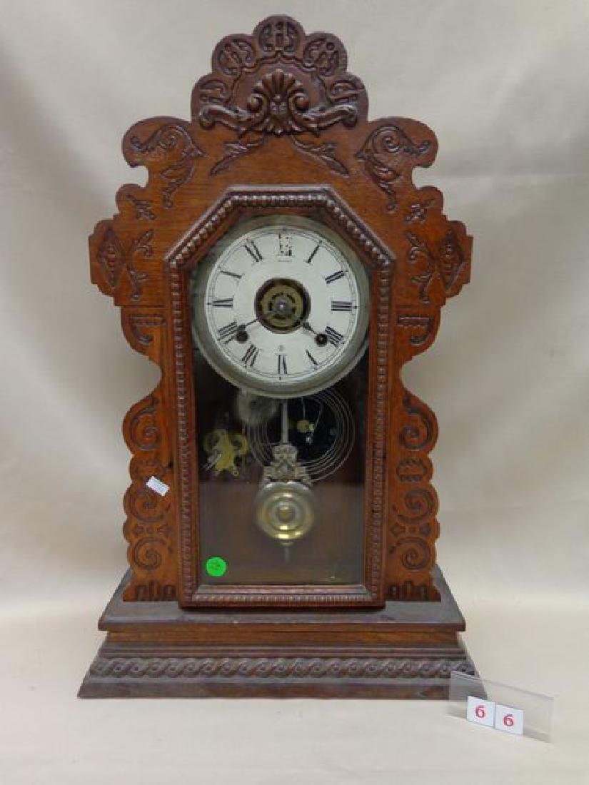 ANSONIA OAK GINGERBREAD CLOCK