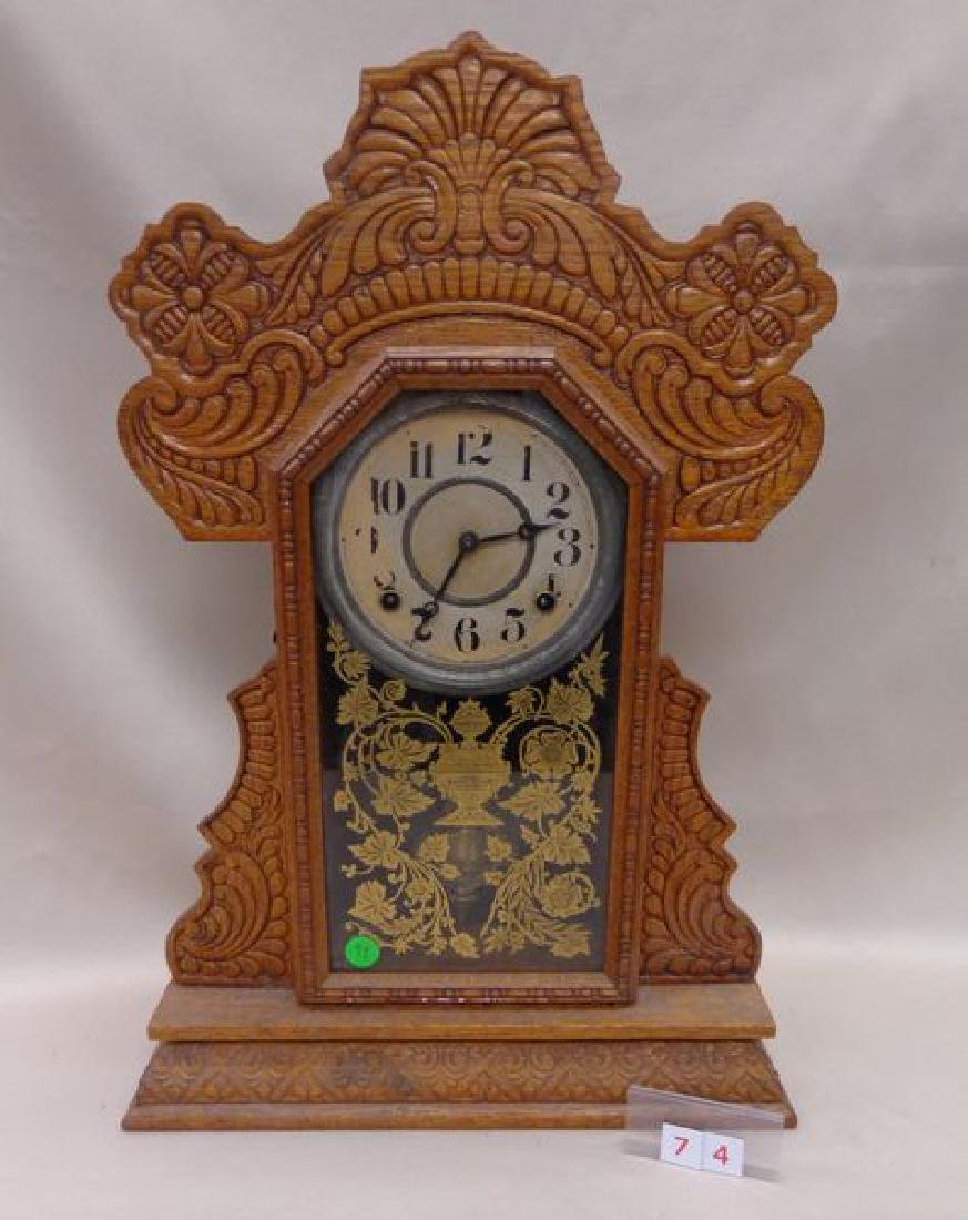 ANTIQUE OAK GINGERBREAD CLOCK,