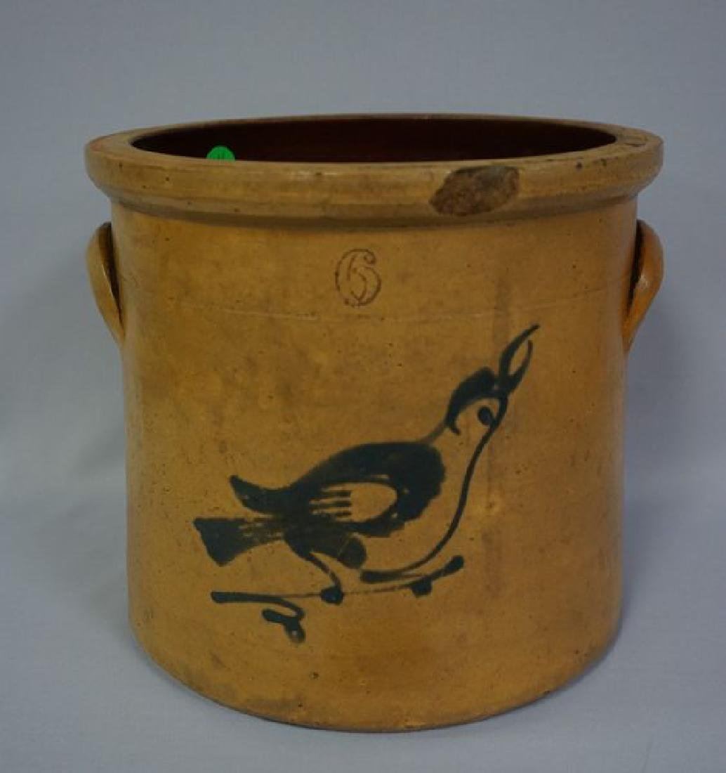 STONEWARE CROCK WITH COBALT BLUE