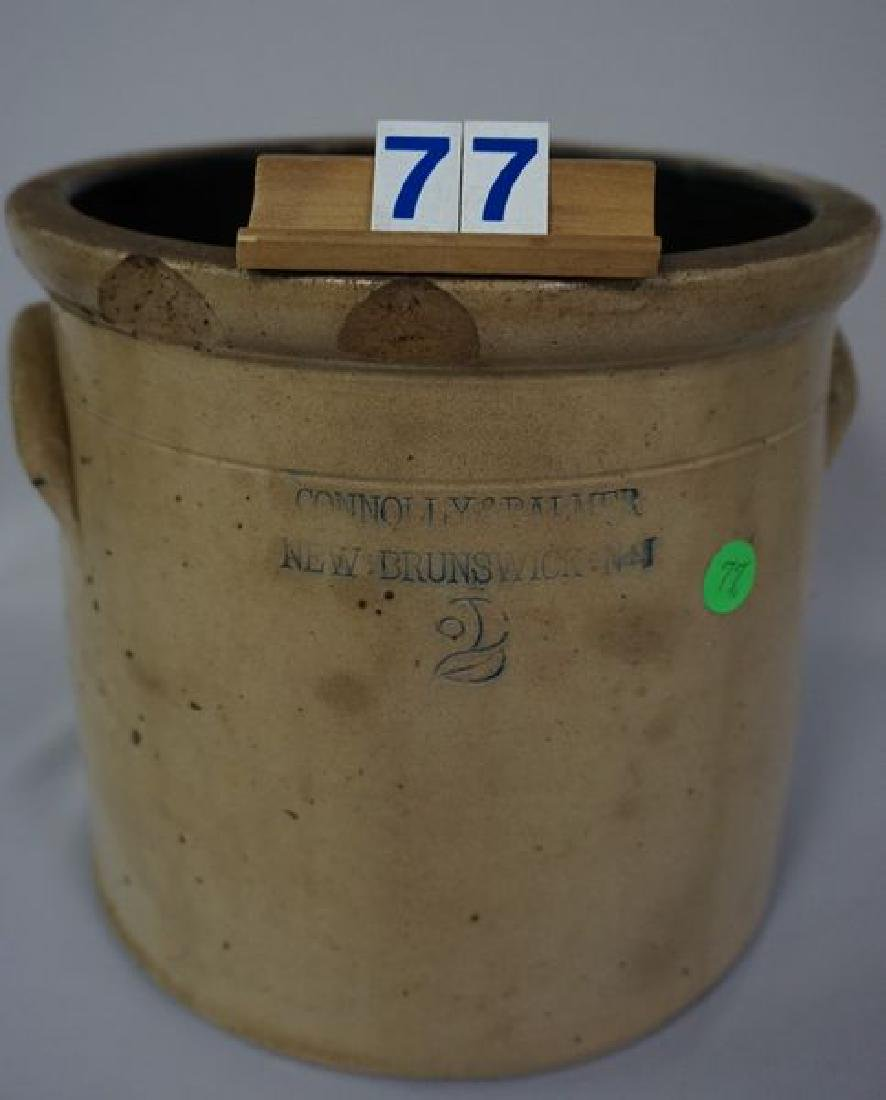TWO GALLON STONEWARE CROCK WITH HANDLES - 3