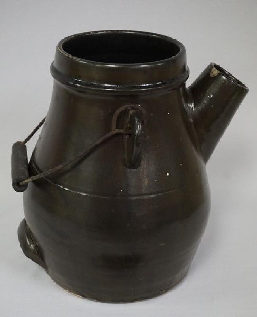 STONEWARE BATTER JUG WITH WIRE BALE - 2