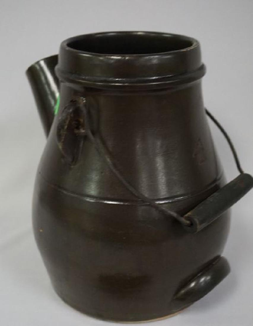 STONEWARE BATTER JUG WITH WIRE BALE - 4