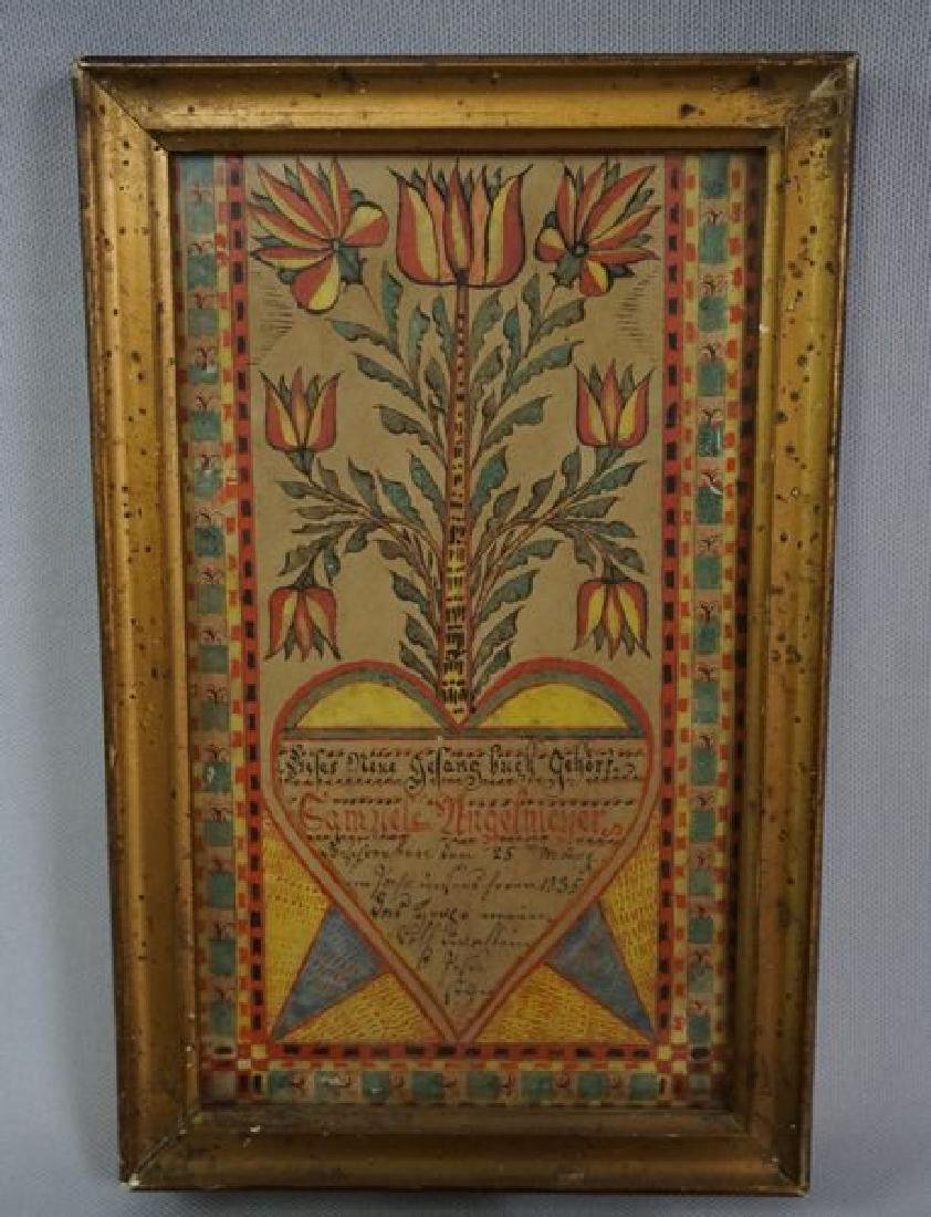 SMALL FRAMED FRAKTUR DATED 1835