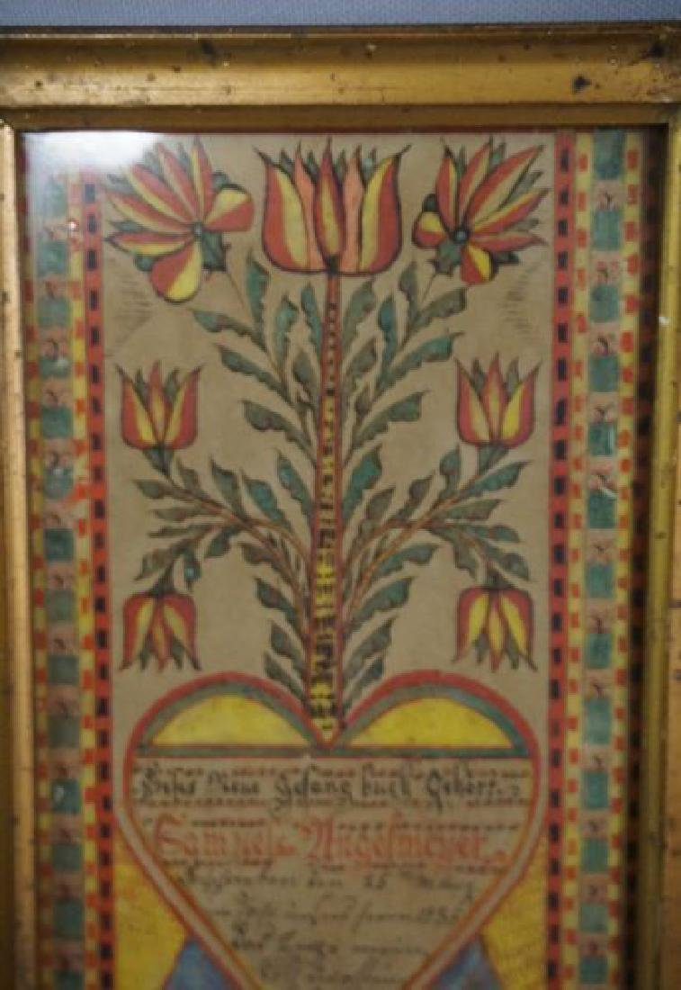SMALL FRAMED FRAKTUR DATED 1835 - 3