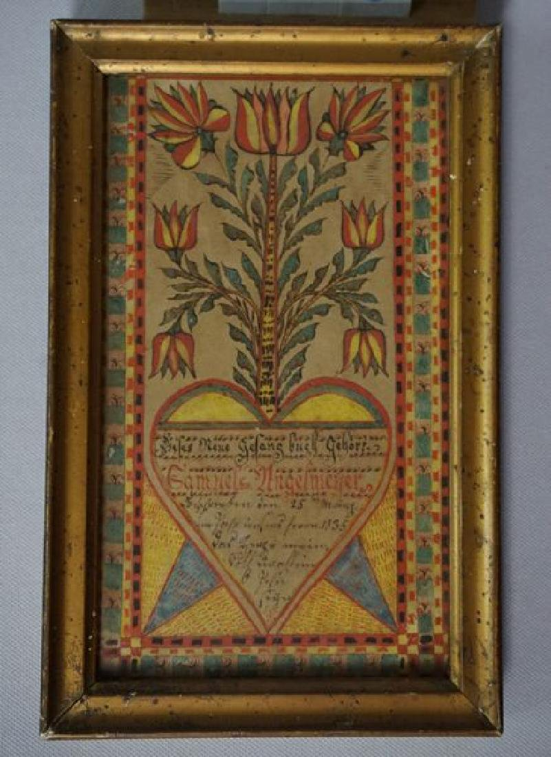 SMALL FRAMED FRAKTUR DATED 1835 - 4