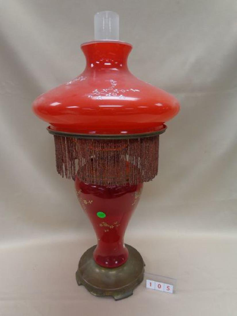 ANTIQUE VICTORIAN RED GLASS OIL LAMP