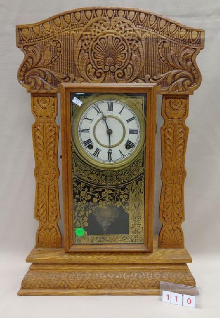 ANTIQUE OAK GINGERBREAD MANTLE CLOCK
