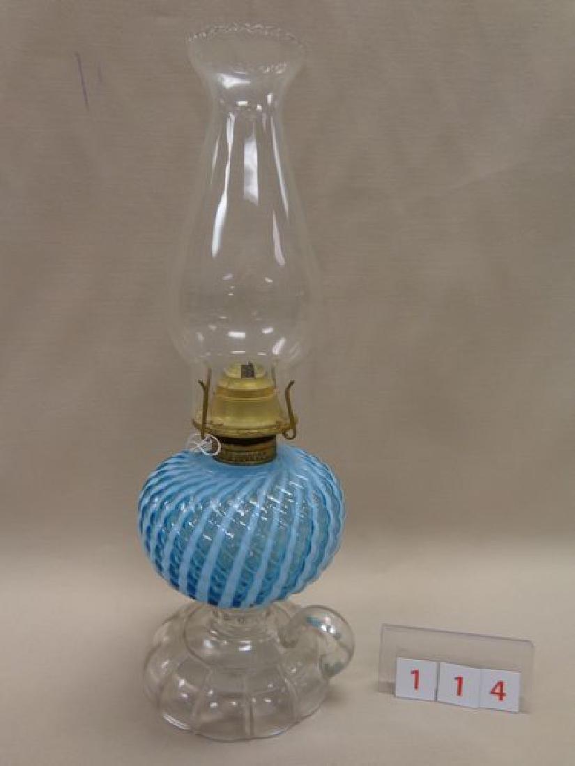 ANTIQUE SHERATON BLUE OPALESCENT SWIRL