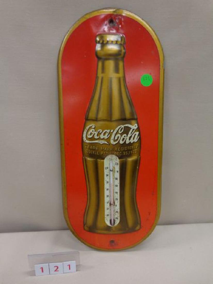 COCA-COLA THERMOMETER, 1939, TIN,