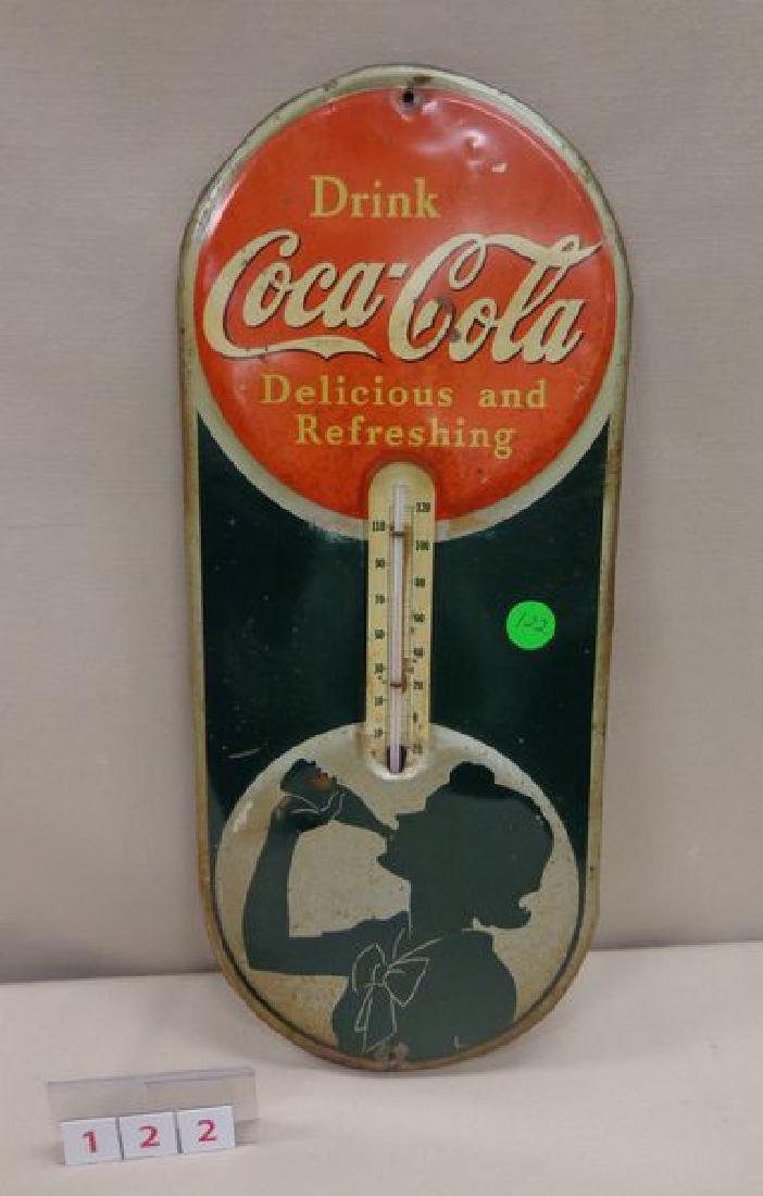 COCA-COLA THERMOMETER, 1939, TIN,