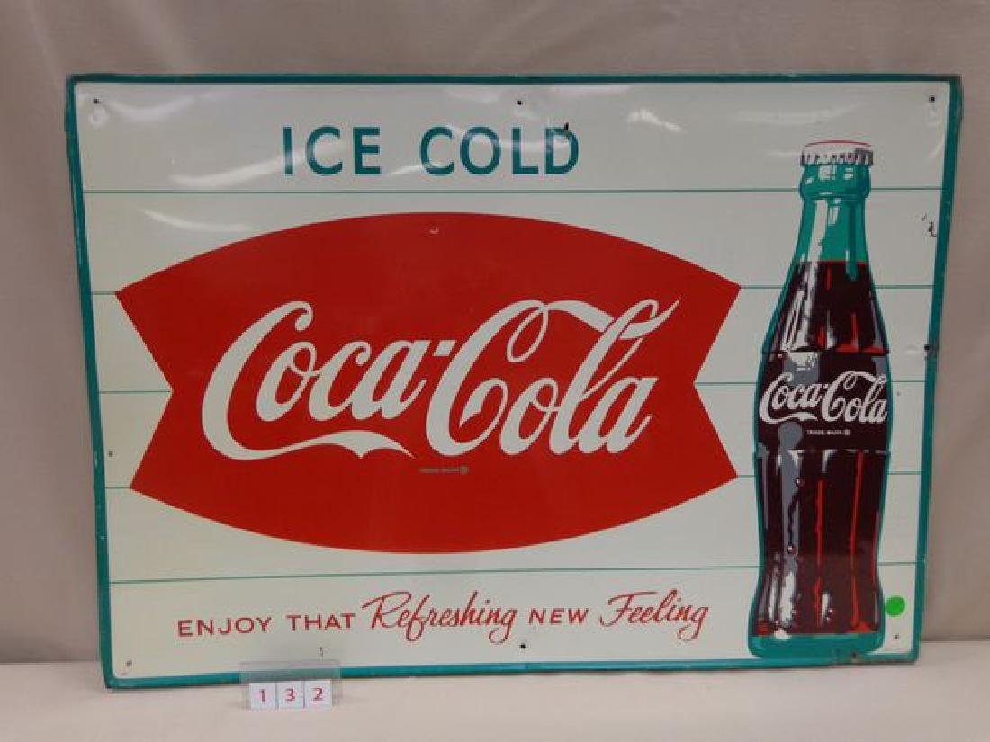 COCA-COLA TIN SIGN, CIRCA 1963,