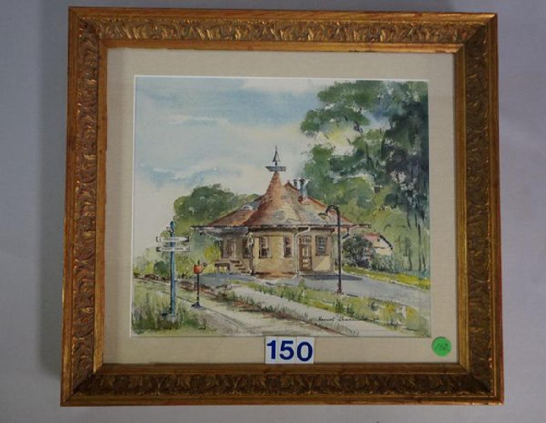 FRAMED WATERCOLOR, TRAIN STATION