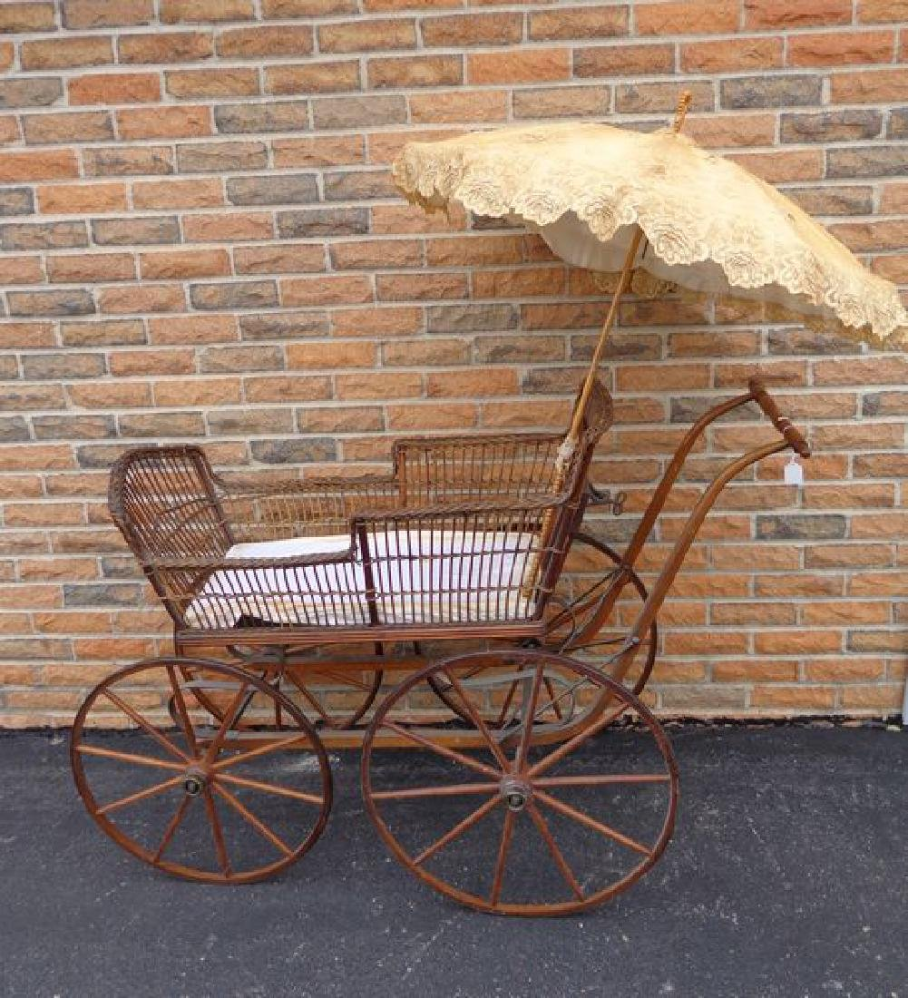 ANTIQUE VICTORIAN WICKER BABY CARRIAGE