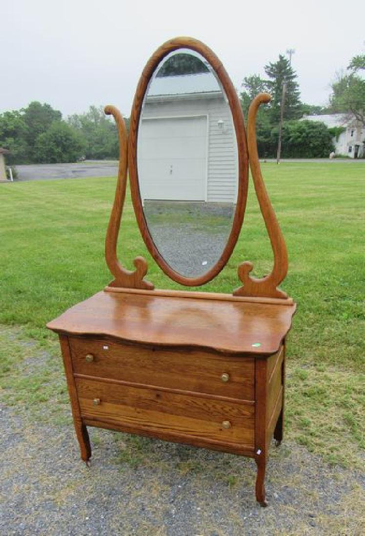 ANTIQUE OAK PRINCESS DRESSER