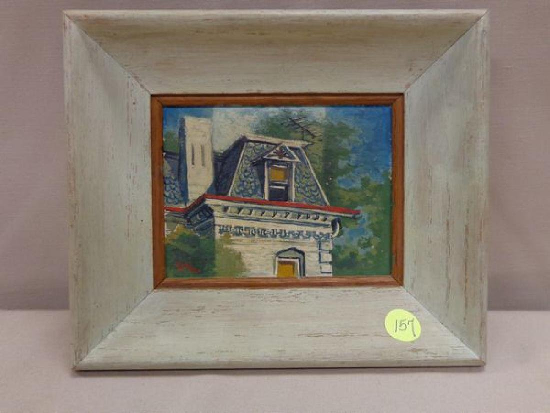 FRAMED OIL ON PANEL - ATTIC GABLE PORTION