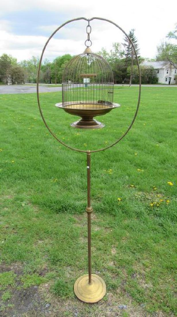ANTIQUE BRASS BIRD CAGE WITH STAND