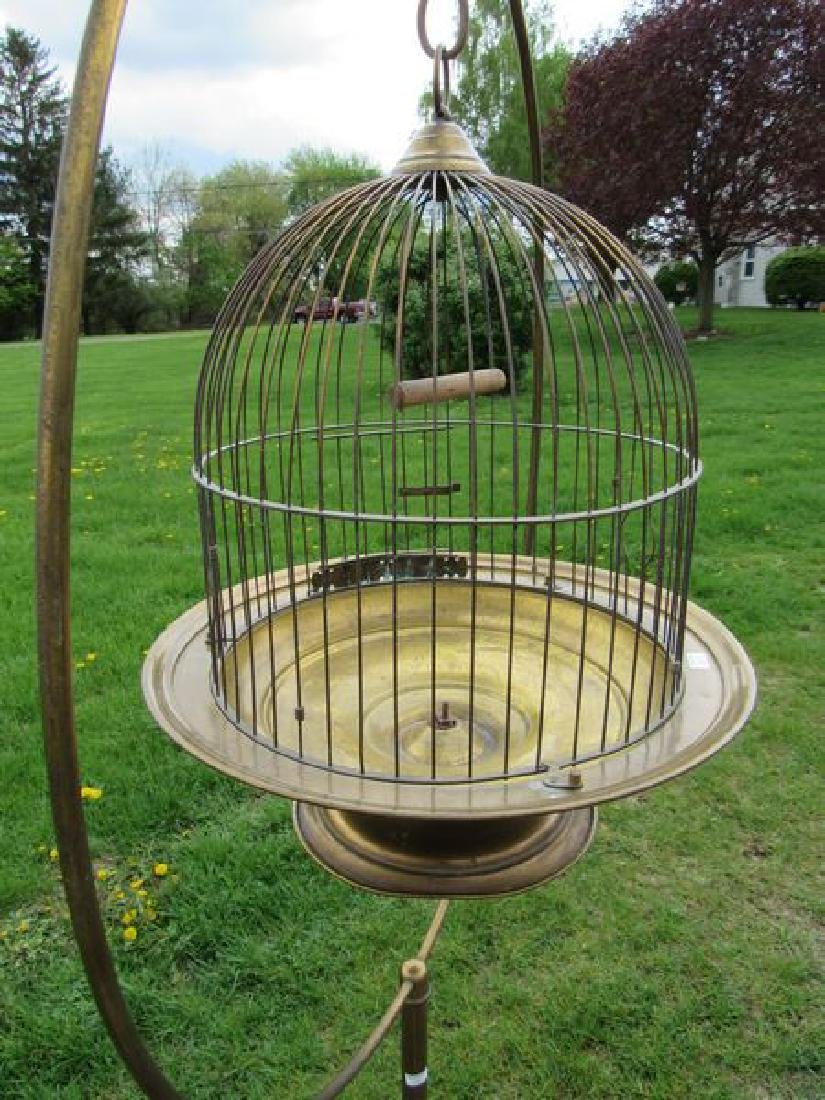 ANTIQUE BRASS BIRD CAGE WITH STAND - 2